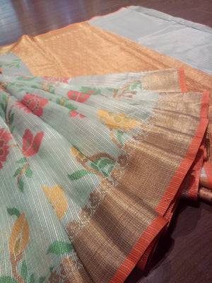 Light green kota saree with golden zari weaving and Multicolor flowers all over - EthnicRoom
