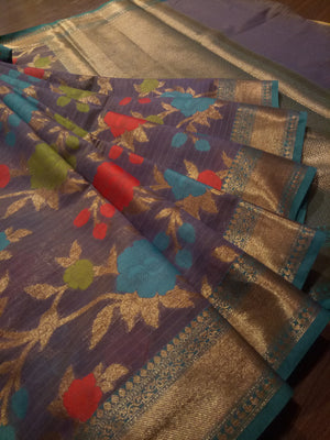 Light ink blue Chanderi saree with golden zari weaving and Multicolor flowers jaal all over - EthnicRoom