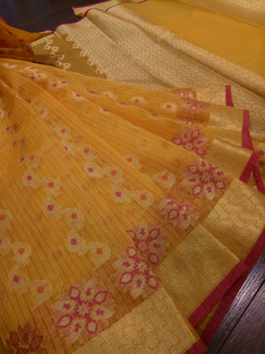 Yellow kota saree with golden weaving all over and golden zari weaving - EthnicRoom