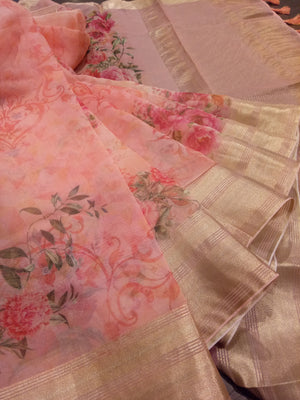 Light pink kora saree with digital print all over and golden zari weaving - EthnicRoom