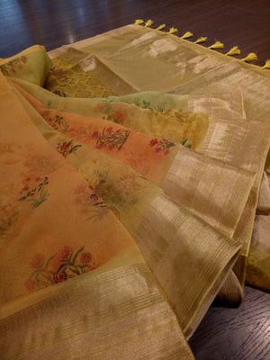 Yellow and orange digital print kora saree with golden zari border - EthnicRoom