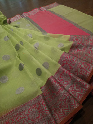 Green kota saree with silver zari weaving on pink border and silver booties all over - EthnicRoom