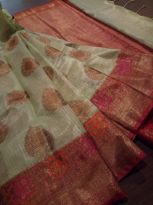 Light green kota saree with golden zari weaving on red border and golden booties all over - EthnicRoom