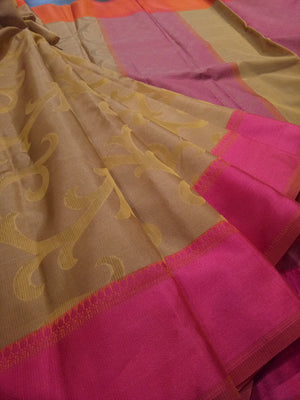 Light brown kota saree with yellow jaal overall and pink border - EthnicRoom