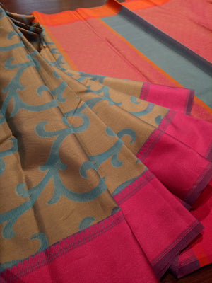 Sea blue kota saree with golden weaving all over and pink border - EthnicRoom