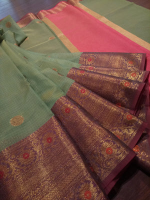 Light green kota saree with golden zari weaving and booties all over - EthnicRoom