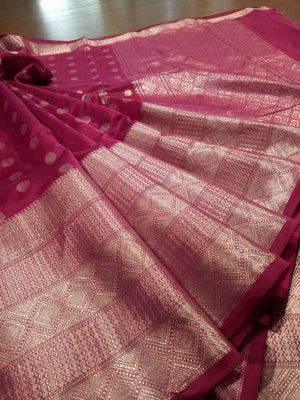 Wine colour chanderi saree with silver zari weaving and booties all over