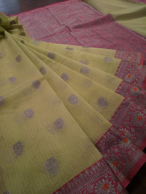 Light green kota saree with silver zari weaving on pink border and silver booties all over - EthnicRoom