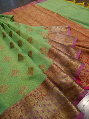 Green kota saree with golden zari weaving on red border and golden booties all over - EthnicRoom