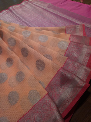 Light orange kota saree with silver zari weaving on pink border and silver booties all over - EthnicRoom