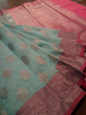 Ligh blue kota saree with silver zari weaving on pink border and silver booties all over - EthnicRoom