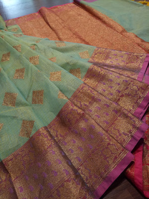 Green kota saree with golden zari weaving on pink border and golden booties all over - EthnicRoom
