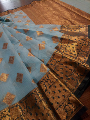 Dark sky blue kota saree with golden zari weaving on dark blue border and golden booties all over - EthnicRoom