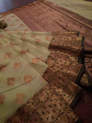 Green kota saree with golden zari weaving on bottle green border and golden booties all over - EthnicRoom