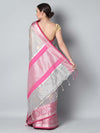 Grey kota zari saree with pink border and silver zari weaving