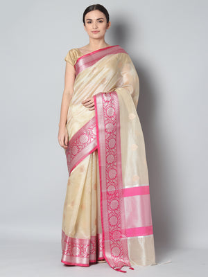 Light yellow kota zari saree with pink border and silver zari weaving