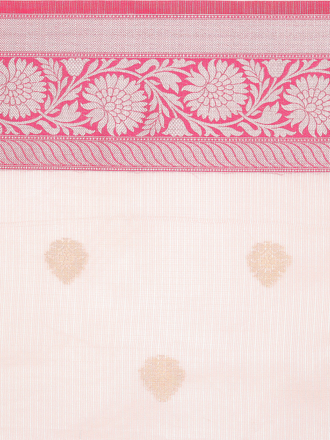 Light Pink kota zari saree with pink border and silver zari weaving