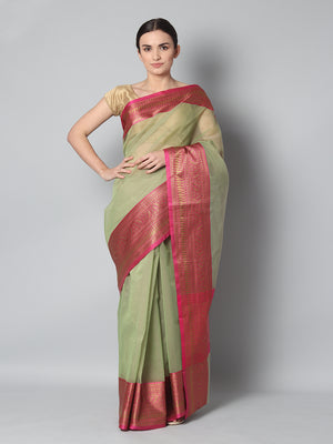 Green chanderi saree with small checks and contrasting meenakari border