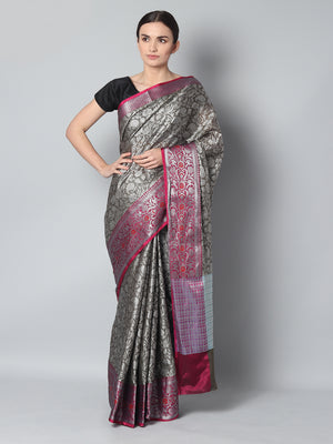 Kanjivaram brownish gray cotton silk saree with overall weaving & red brocade border