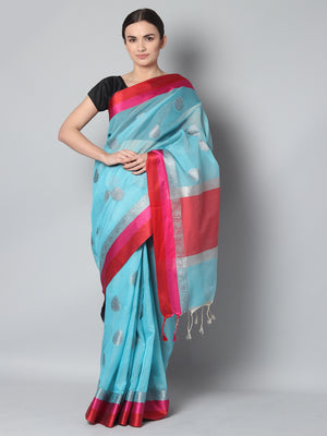 Light blue kota saree with silver zari booties and red & pink border