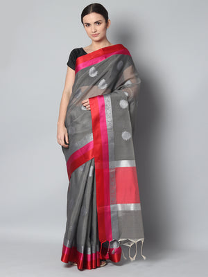 Gray kota saree with silver zari booties and red & pink border