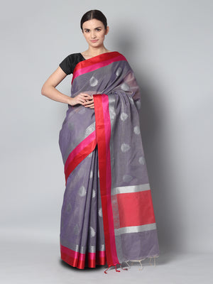Dark purple kota saree with silver zari booties and red & pink border