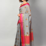 Gray chanderi with gold zari booties with red and pink border