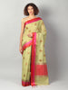 Bright green chanderi with gold zari booties with red and pink border