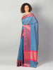 Meenakari pink border on blue small check chanderi saree