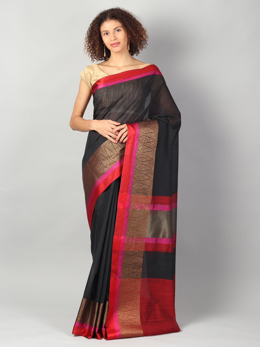 Plain black chanderi saree with meenakari zari & contrasting border