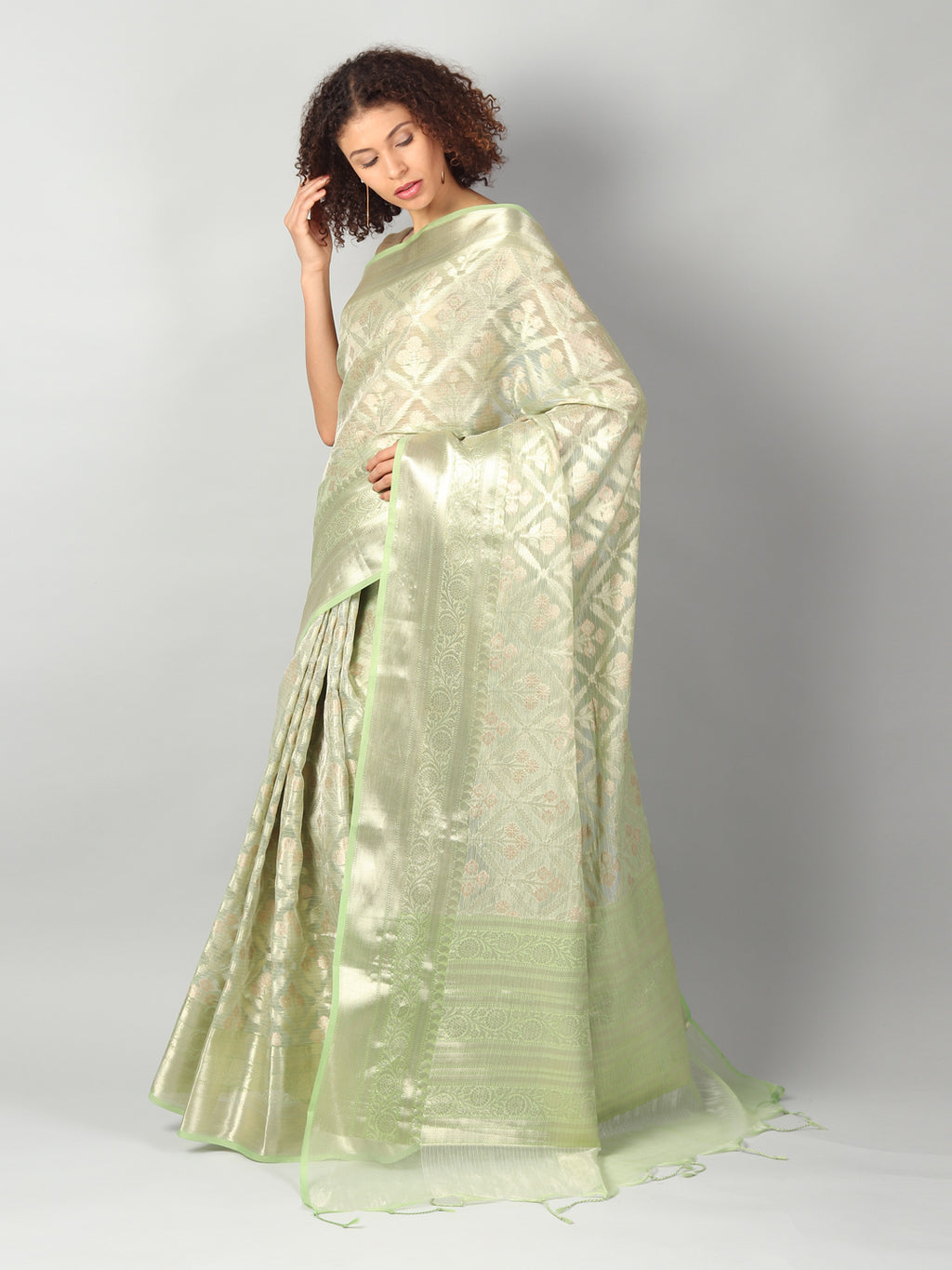 Tissue kota in pista green with overal zari jaal and border