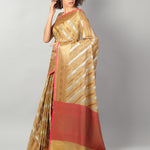 Kota saree with diagonal striped of yellow & gold allover and zari border