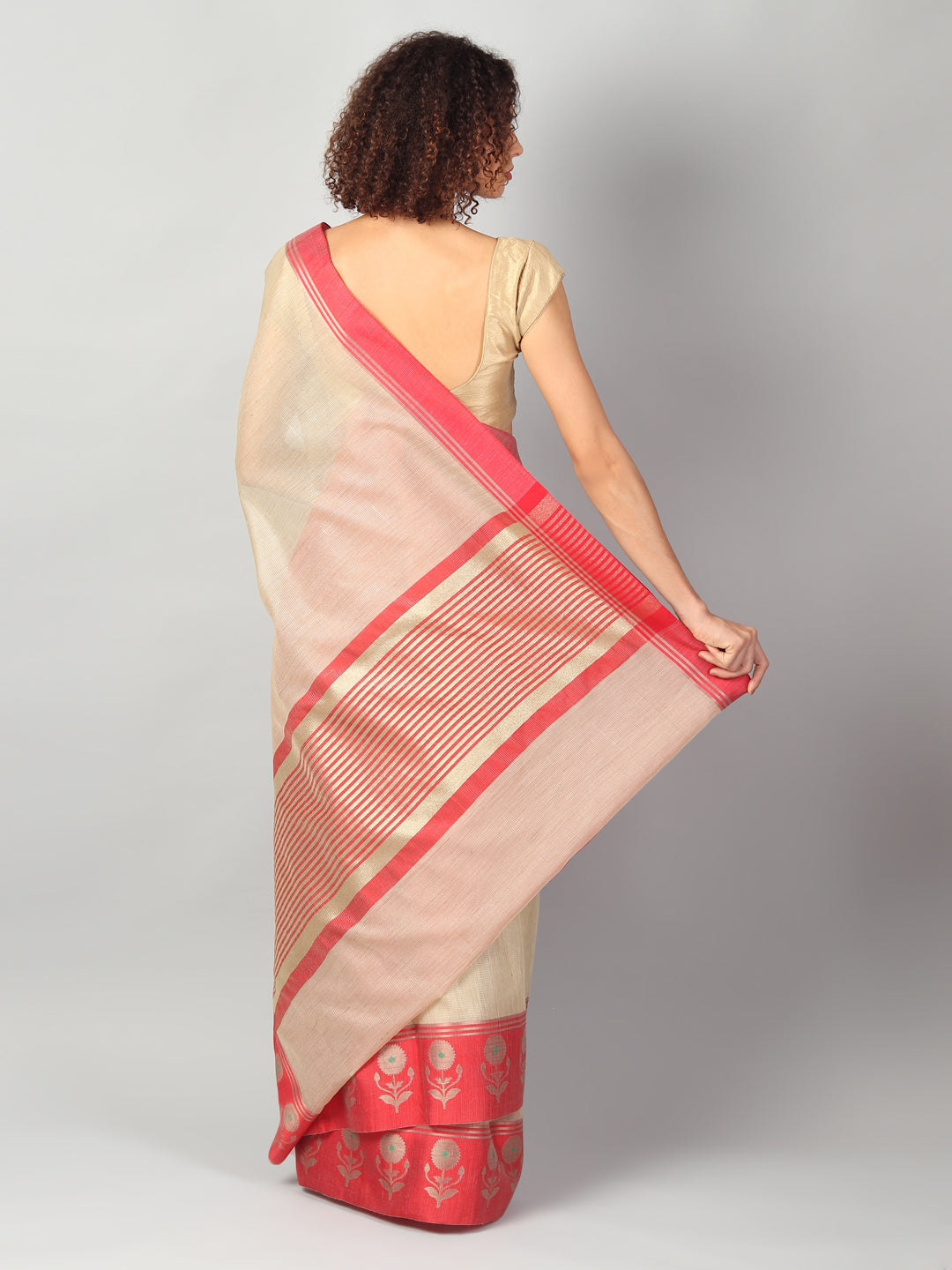Zari kota in cream/beige with red border