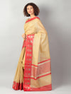 Zari kota in yellow with red border