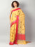 Yellow chanderi with gold zari booties with red and pink border