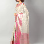 Tissue kota in white with overal zari jaal and contrasting borders