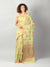 Lemon Green jute silk with kadwa booties allover & brocade aanchal & blouse