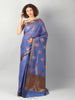 Blue jute cotton saree with tilfi multicolor floral booties overall and zari border