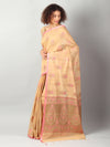 Pastel yellow jute silk with kadwa booties allover & brocade aanchal & blouse