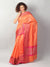 Meenakari pink border on orange small check chanderi saree
