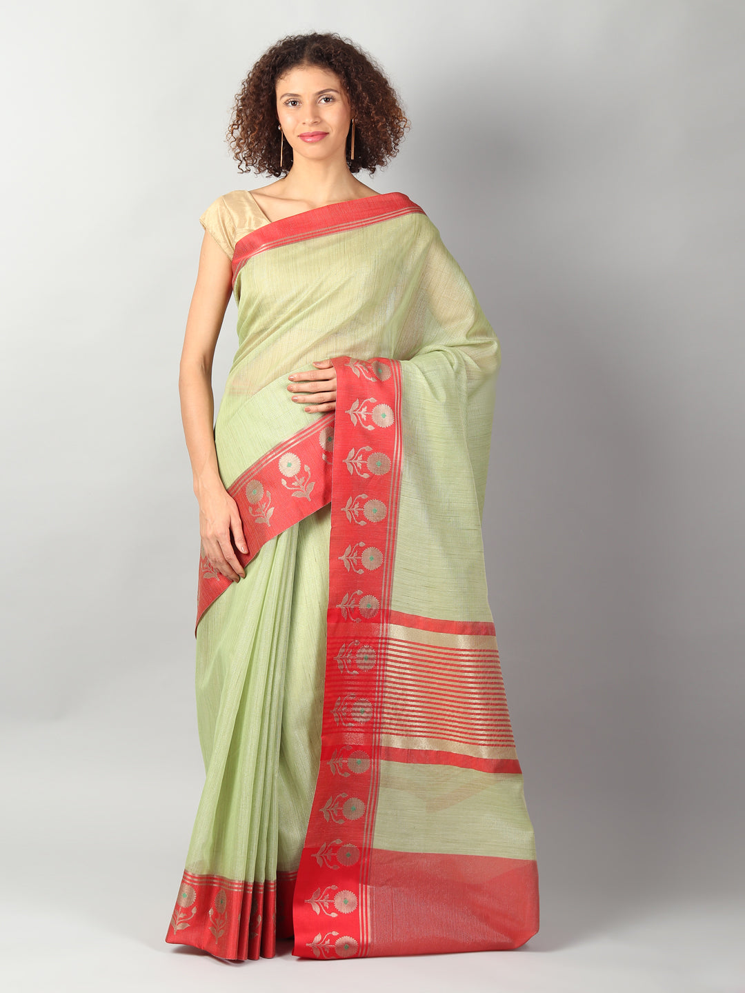 Zari kota in pastel green with red border