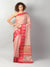 Zari kota in light pink with red border