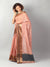 Peach Kota saree with black & zari border and booties