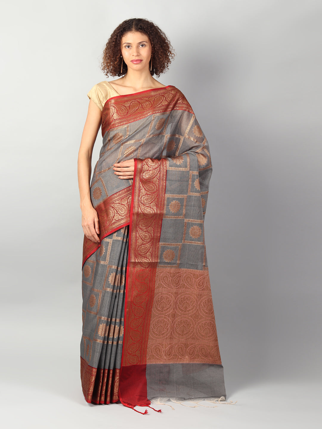 Broad checks of zari on gray kota saree with red brocade aanchal & blouse