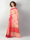 Peach chanderi with gold zari booties with red and pink border