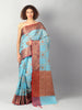 Broad checks of zari on blue kota saree with red brocade aanchal & blouse