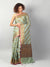 Kota saree with diagonal striped of green & gold allover and zari border