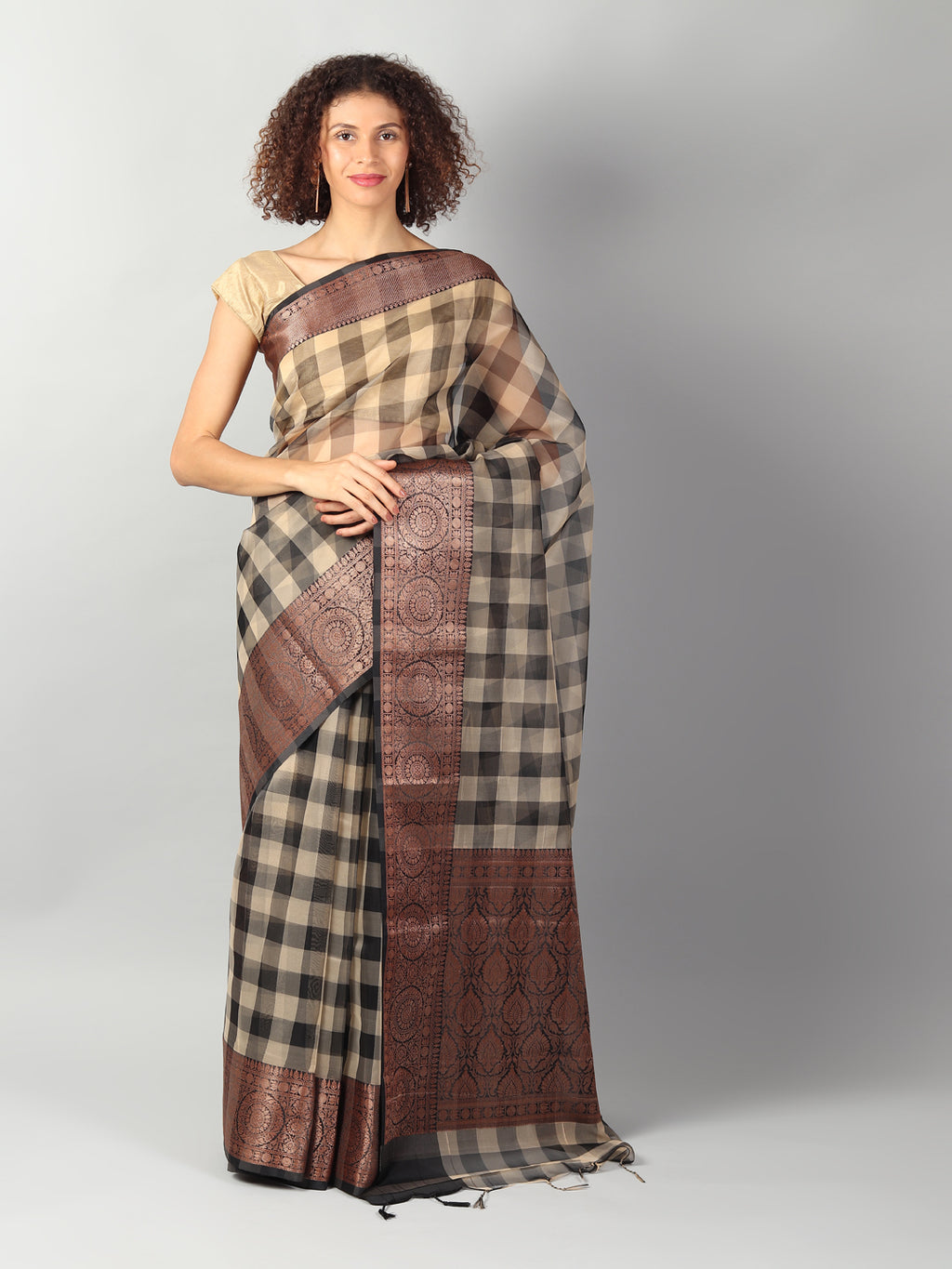 Kora checks in black and cream with zari border and brocade aanchal & blouse