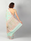 Pastel blue jute silk with kadwa booties allover & brocade aanchal & blouse