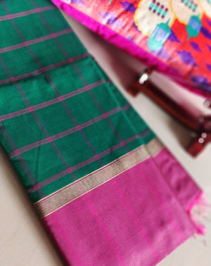 Broad checks of pink on green cotton silk saree - EthnicRoom